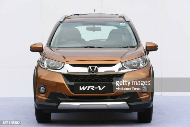 Allnew Honda WRV displayed on March 16 2017 in New Delhi India WRV the latest addition to the Honda fleet comes with a sporty exterior and spacious...