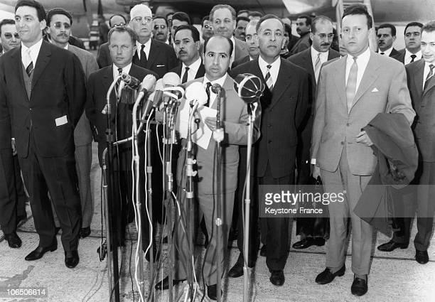 Allocution Of Krim Belkacem Head Of The Gpra Delegation Behind Him Boulharouf Boumendjel And Ahmed Francis On The Left Reda Malek Saa Dahlab Who...