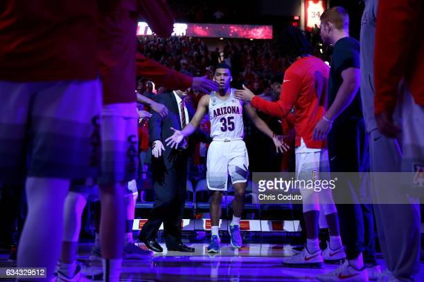 Allonzo Trier of the Arizona Wildcats is introduced before the start of the college basketball game against the Stanford Cardinal at McKale Center on...