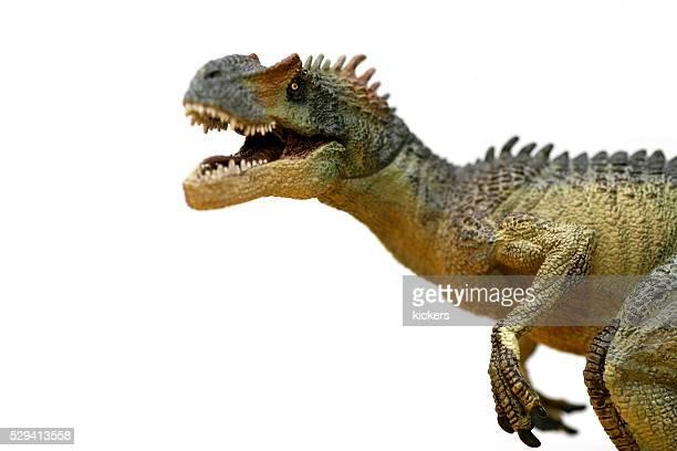 Allosaurus Kunststoff-Modell brüllend in die Kamera.