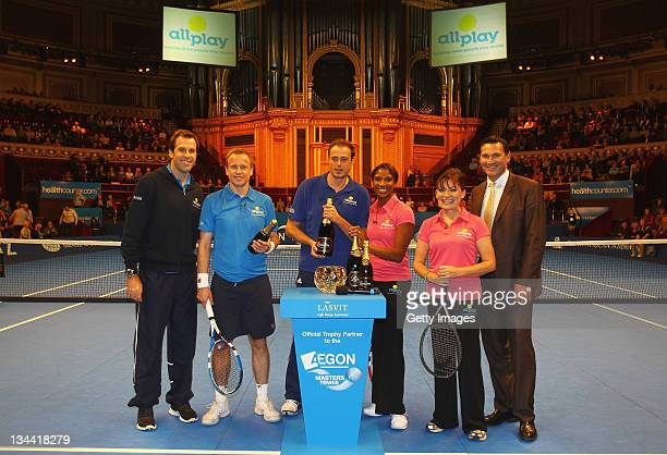 Allplay Challenge Cup MC and ex proplayer Greg Rusedski tv presenter Tim Lovejoy broadcaster Jamie Theakston and Olympic heptathlon champion and...