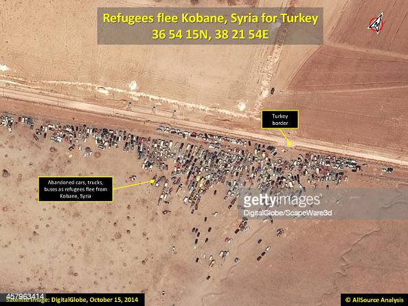 AllSource Analysis of DigitalGlobe close up Imagery from October 15th shows the abandoned cars as refugees flee Kobane Syria