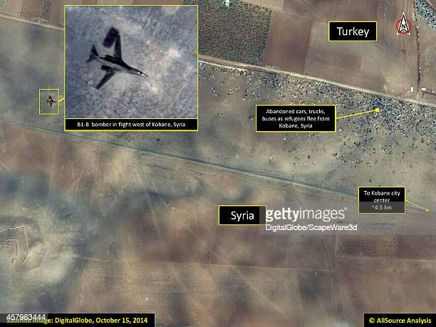 AllSource Analysis of DigitalGlobe Imagery from October 15th showing abandoned cars and a B1B Bomber in flight west of Kobane Syria