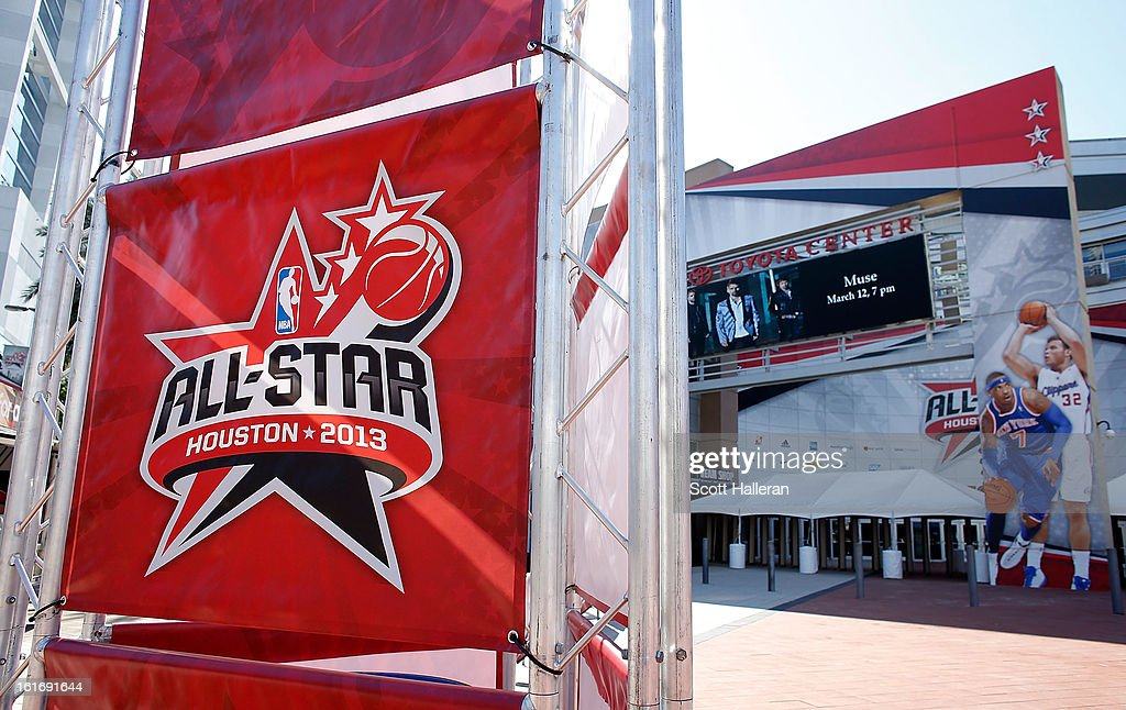 All-Star 2013 banners hang outside the Toyota Center on February 14, 2013 in Houston, Texas.