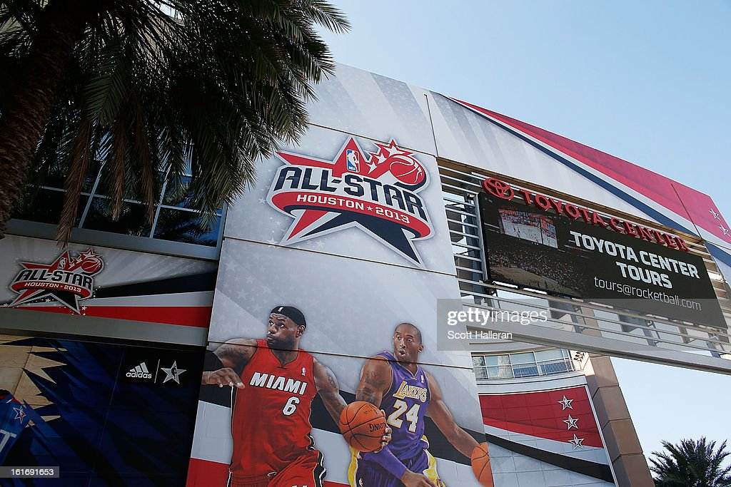 All-Star 2013 signage is seen outside the Toyota Center on February 14, 2013 in Houston, Texas.