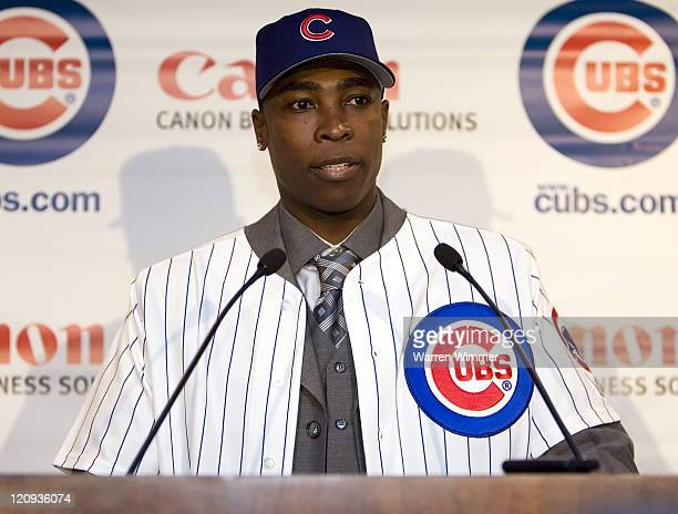 AllStar Alfonso Soriano newly signed by the Chicago Cubs sporting the fifthlargest contract in the Major Leagues meets the Chicago media in the...