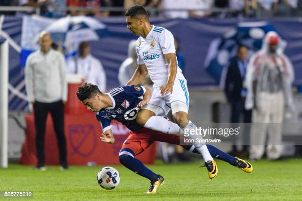 AllStar and Atlanta United FC midfielder Miguel Almiron and Real Madrid midfielder Casemiro collide in the second half during a soccer match between...