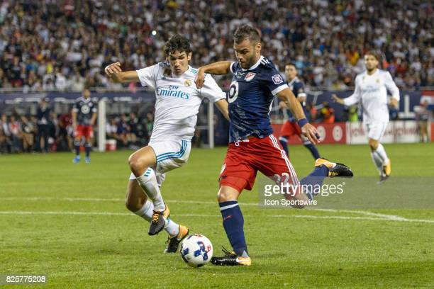 AllStar and Chicago Fire Forward Nemanja Nikolic prepares to shoot on goal as Real Madrid defender Jesus Vallejo defends in the second half during a...