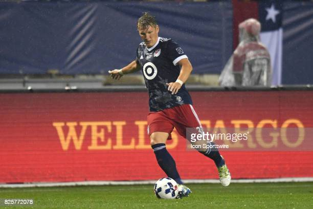 AllStar and Chicago Fire Midfielder Bastian Schweinsteiger controls the ball in the first half during a soccer match between the MLS AllStars and...