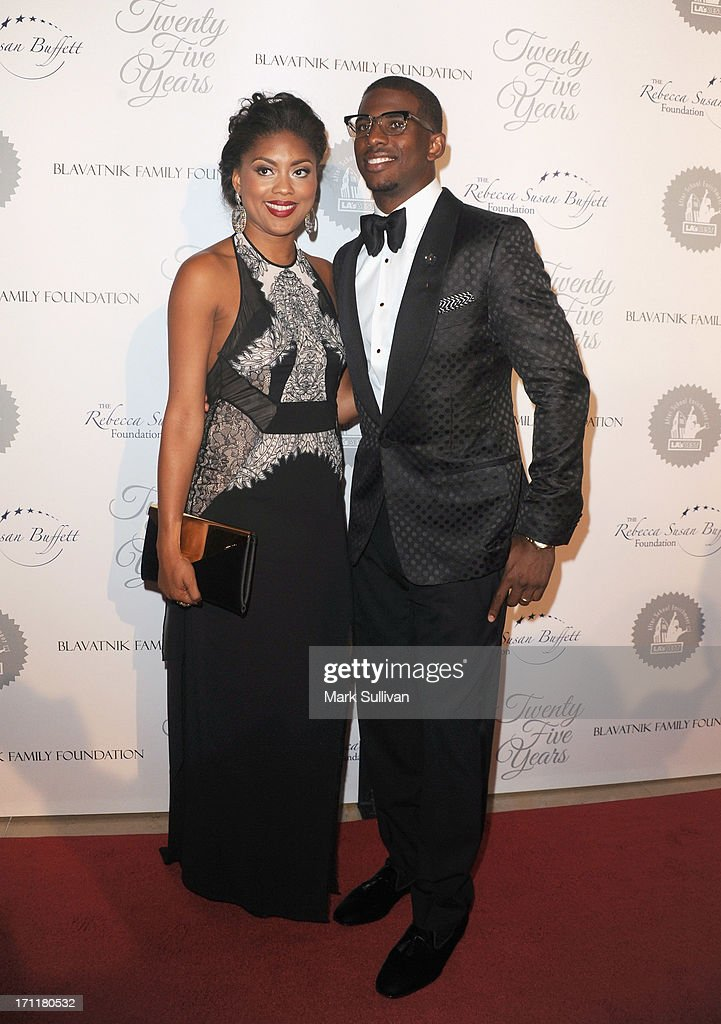 All-Star <a gi-track='captionPersonalityLinkClicked' href=/galleries/search?phrase=Chris+Paul&family=editorial&specificpeople=212762 ng-click='$event.stopPropagation()'>Chris Paul</a> (R) and wife Jada Crawley attend LA's Best 25th Anniversary Gala at The Beverly Hilton Hotel on June 22, 2013 in Beverly Hills, California.