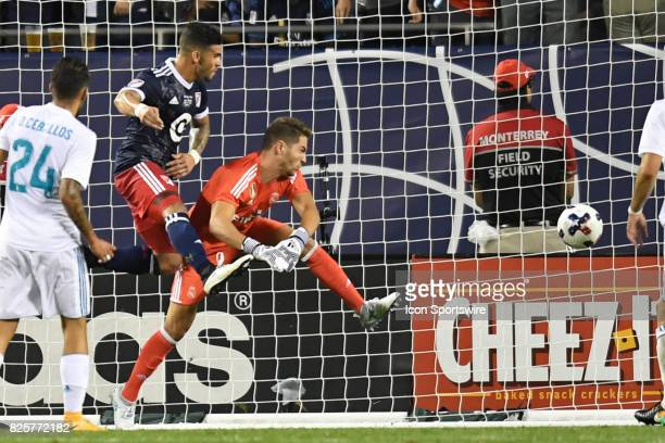 AllStar Dom Dwyer heads the ball in for a goal against Real Madrid goalkeeper Luca Zidane in the second half during a soccer match between the MLS...