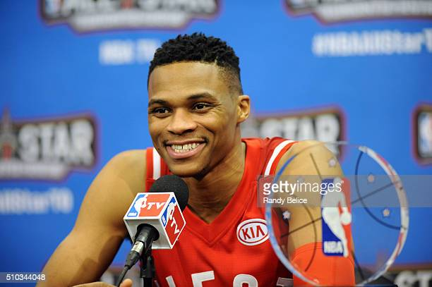 AllStar Game MVP Russell Westbrook of the Western Conference speaks at a press conference after the 2016 NBA AllStar Game on February 14 2016 at Air...