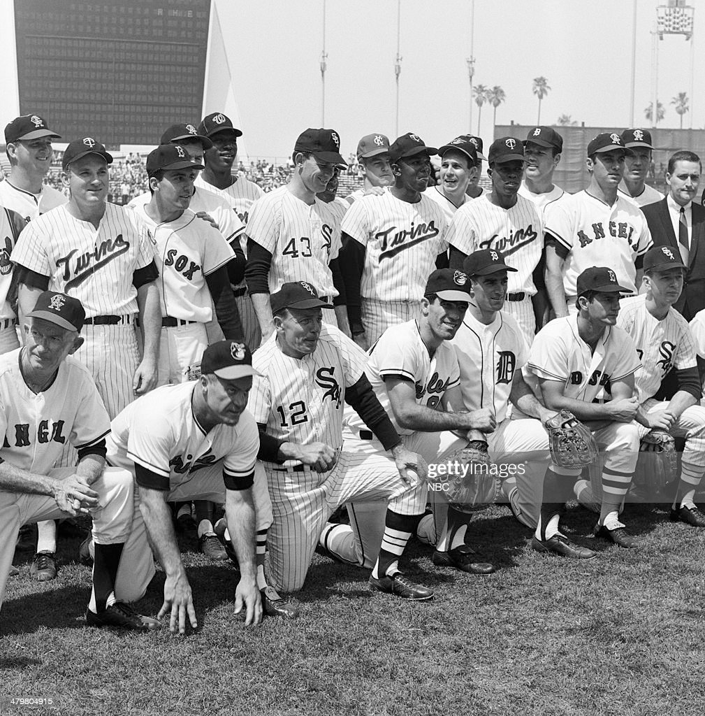 BASEBALL -- '1967 All-Star Game' -- Pictured: American League team (front row l-r) California Angels coach Bill Rigney, Baltimore Orioles manager Hank Bauer, Chicago White Sox coach Eddie Stanky, Baltimore Orioles' Andy Etchebarren, Detroit Tigers' Dick McAuliffe, Boston Red Sox's <a gi-track='captionPersonalityLinkClicked' href=/galleries/search?phrase=Carl+Yastrzemski&family=editorial&specificpeople=1001959 ng-click='$event.stopPropagation()'>Carl Yastrzemski</a>, Chicago White Sox's Joe Horlen (back row l-r) California Angels' Don Mincher, Minnesota Twins' <a gi-track='captionPersonalityLinkClicked' href=/galleries/search?phrase=Harmon+Killebrew&family=editorial&specificpeople=949468 ng-click='$event.stopPropagation()'>Harmon Killebrew</a>, Boston White Sox's Rico Petrocelli, Washington Senators' Paul Casanova, Chicago White Sox's Gary Peters, Kansas City Atheltics' <a gi-track='captionPersonalityLinkClicked' href=/galleries/search?phrase=Catfish+Hunter&family=editorial&specificpeople=216174 ng-click='$event.stopPropagation()'>Catfish Hunter</a>, Minnesota Twins' Rod Carew, Baltimore Orioles' <a gi-track='captionPersonalityLinkClicked' href=/galleries/search?phrase=Brooks+Robinson&family=editorial&specificpeople=213977 ng-click='$event.stopPropagation()'>Brooks Robinson</a>, Minnesota Twins' Tony Oliva, Detroit Tigers' Bill Freehan, California Angels' <a gi-track='captionPersonalityLinkClicked' href=/galleries/search?phrase=Jim+Fregosi&family=editorial&specificpeople=2215603 ng-click='$event.stopPropagation()'>Jim Fregosi</a>, unknown during the 1967 All-Star Game held at at Anaheim Stadium in Anaheim, California on July 11, 1967 --