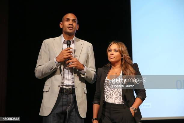 AllStar Grant Hill and singer Tamia speak at the debut of Social Media Mania's national program at Beverly Hills High School on November 19 2013 in...