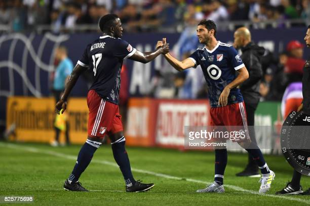 AllStar Ignacio Piatti is substituted into the game for MLS AllStar and Toronto FC Forward Jozy Altidore  in the first half during a soccer match...