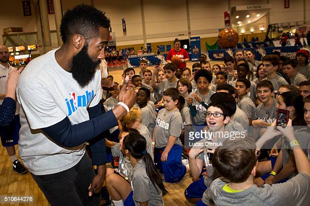 NBA allstar James Harden of the Houston Rockets greeted Toronto students at the Enercare Centre Friday afternoon as part of the Junior NBA day...