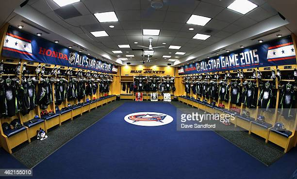 AllStar jerseys hang in the locker room of Team Foligno before the start of the 2015 Honda NHL AllStar Game at Nationwide Arena on January 25 2015 in...