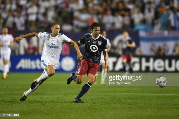 AllStar Kaka and Real Madrid midfielder Marcos Llorente  battle for the ball in the first half during a soccer match between the MLS AllStars and...