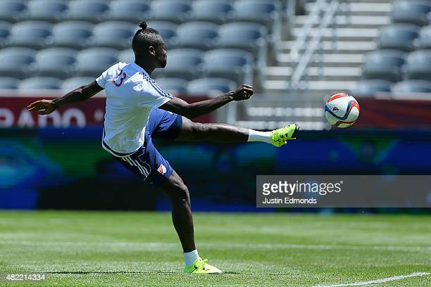 AllStar Kei Kamara of the Columbus Crew SC works out during training ahead of the MLS AllStar Game against the Tottenham Hotspur at Dick's Sporting...