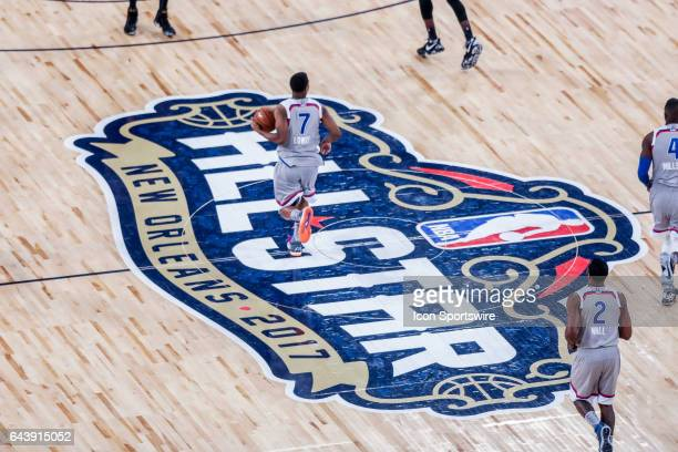 AllStar logo at mid court during the NBA AllStar Game between the Eastern Conference and the Western Conference on February 19 at Smoothie King...