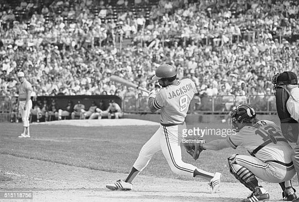 AllStar outfielder Reggie Jackson of the Oakland A's smashes the ball in a game against the Detroit Tigers during the American League playoffs