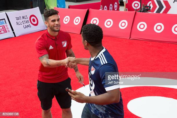 AllStar Player Dom Dwyer attends the Target MLS AllStar Fan Engagement at Pioneer Court on August 1 2017 in Chicago Illinois