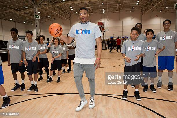 NBA allstar Russel Westbrook of the Oklahoma City Thunder coached students from St John Fisher School in Brampton at the Enercare Centre Friday...