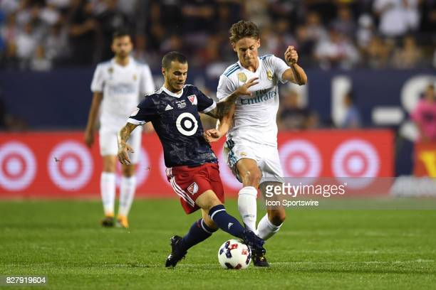 AllStar Sebastian Giovinco and Real Madrid midfielder Marcos Llorente battle for the ball in the first half during a soccer match between the MLS...