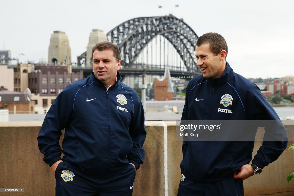 All-Stars coach Ange Postecoglou (L) and All-Stars captain Brett Emerton (R) pose during a FFA A-League All-Stars press conference at Museum of Contemporary Art on July 19, 2013 in Sydney, Australia.