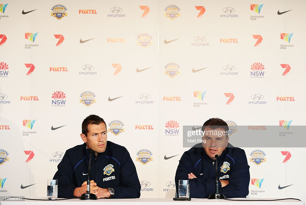 All-Stars coach Ange Postecoglou (R) and All-Stars captain <a gi-track='captionPersonalityLinkClicked' href=/galleries/search?phrase=Brett+Emerton&family=editorial&specificpeople=206493 ng-click='$event.stopPropagation()'>Brett Emerton</a> (L) speak to the media during a FFA A-League All-Stars press conference at Museum of Contemporary Art on July 19, 2013 in Sydney, Australia.