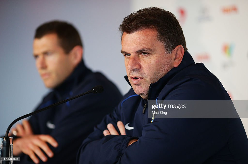 All-Stars coach Ange Postecoglou speaks to the media during a FFA A-League All-Stars press conference at Museum of Contemporary Art on July 19, 2013 in Sydney, Australia.