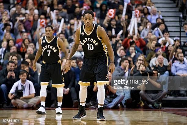 NBA allstar's DeMar DeRozan and Kyle Lowry defend the Knick's in the second half The Toronto Raptors hosted the New York Knicks Thursday night at the...