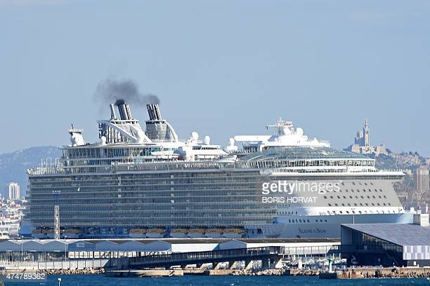 MS Allure of the Seas the largest passenger ship ever constructed leaves the French Mediterranean Sea port of Marseille on May 26 after its first...