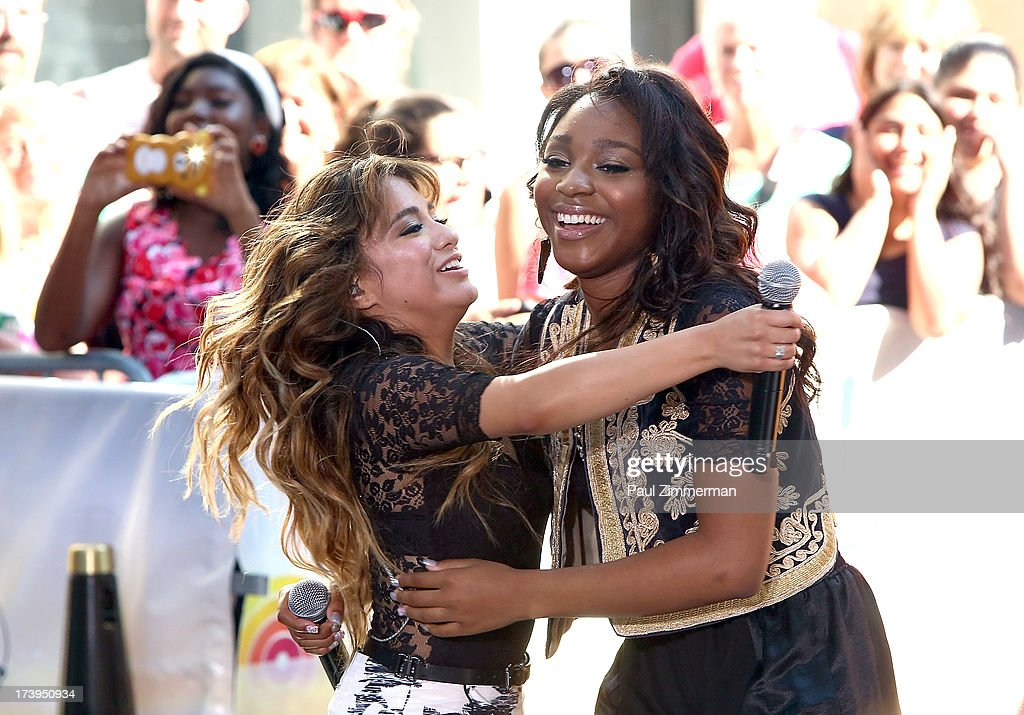 Ally Brooke and Normani Hamilton of the band Fifth Harmony perform on NBC's 'Today' at Rockefeller Plaza on July 18, 2013 in New York City.