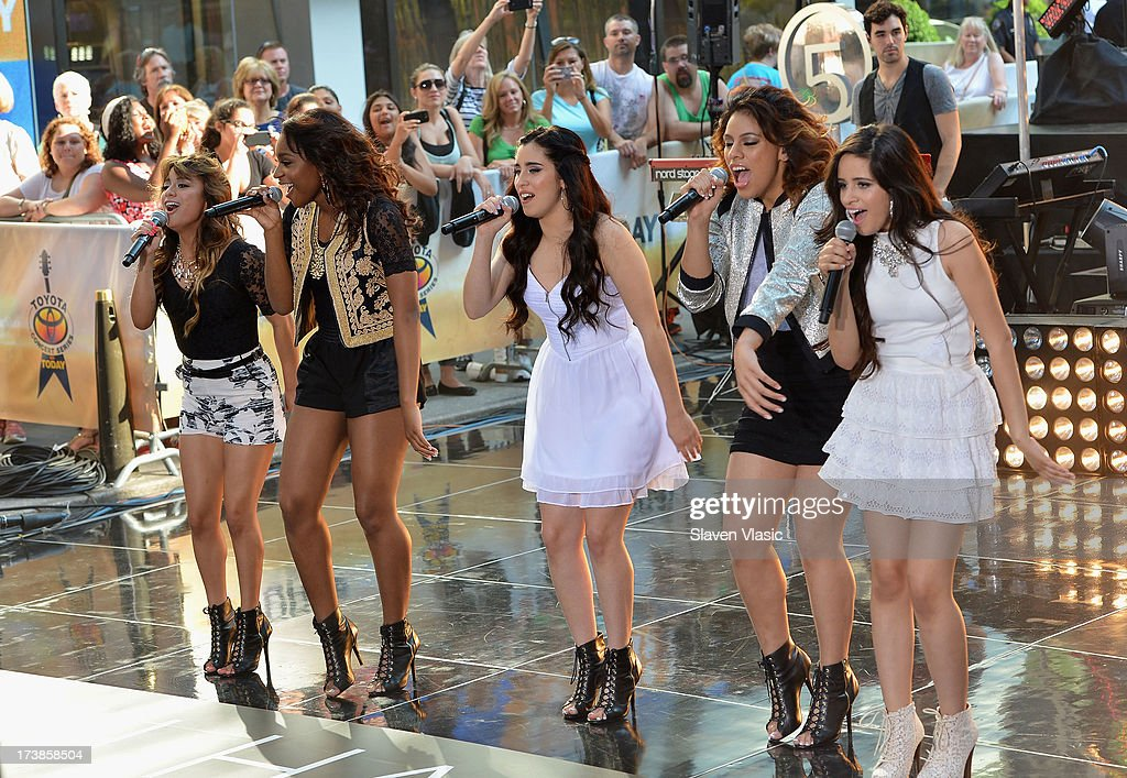 Ally Brooke Hernandez, Normani Hamilton, Lauren Jauregui, Dinah Jane Hansen and Camila Cabello of <a gi-track='captionPersonalityLinkClicked' href=/galleries/search?phrase=Fifth+Harmony&family=editorial&specificpeople=9960104 ng-click='$event.stopPropagation()'>Fifth Harmony</a> perform at NBC's TODAY Show on July 18, 2013 in New York City.
