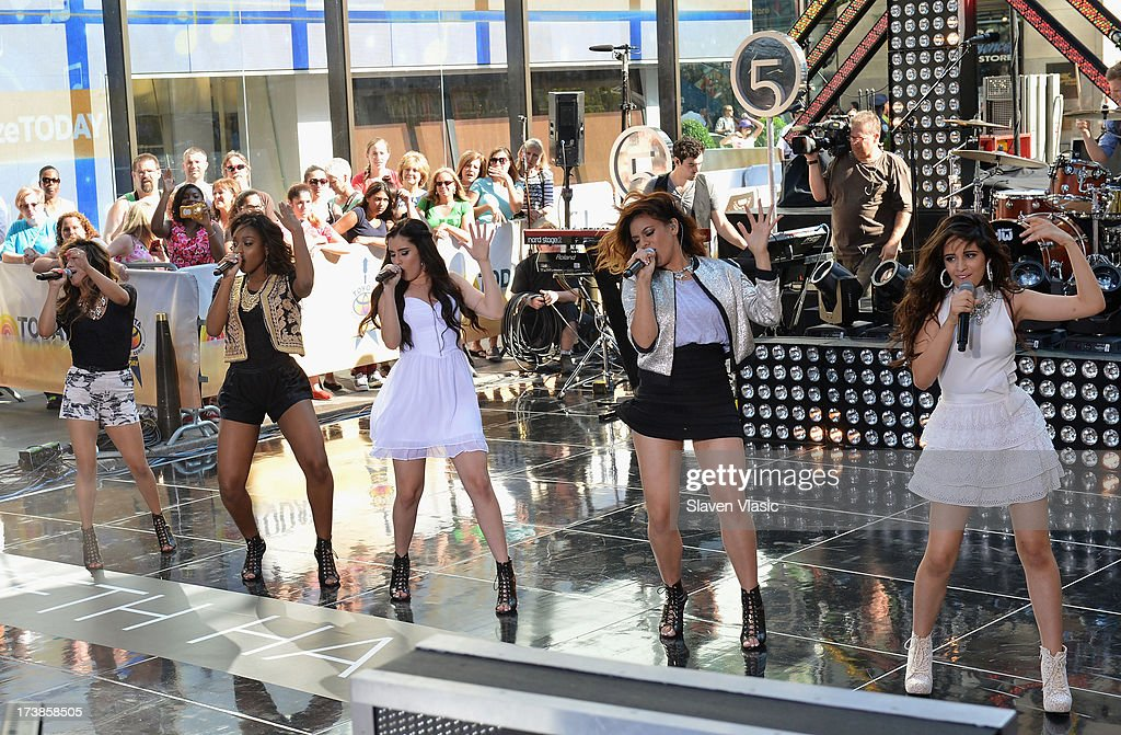 Ally Brooke Hernandez, Normani Hamilton, Lauren Jauregui, Dinah Jane Hansen and Camila Cabello of <a gi-track='captionPersonalityLinkClicked' href=/galleries/search?phrase=Fifth+Harmony&family=editorial&specificpeople=9960104 ng-click='$event.stopPropagation()'>Fifth Harmony</a> performs at NBC's TODAY Show on July 18, 2013 in New York City.