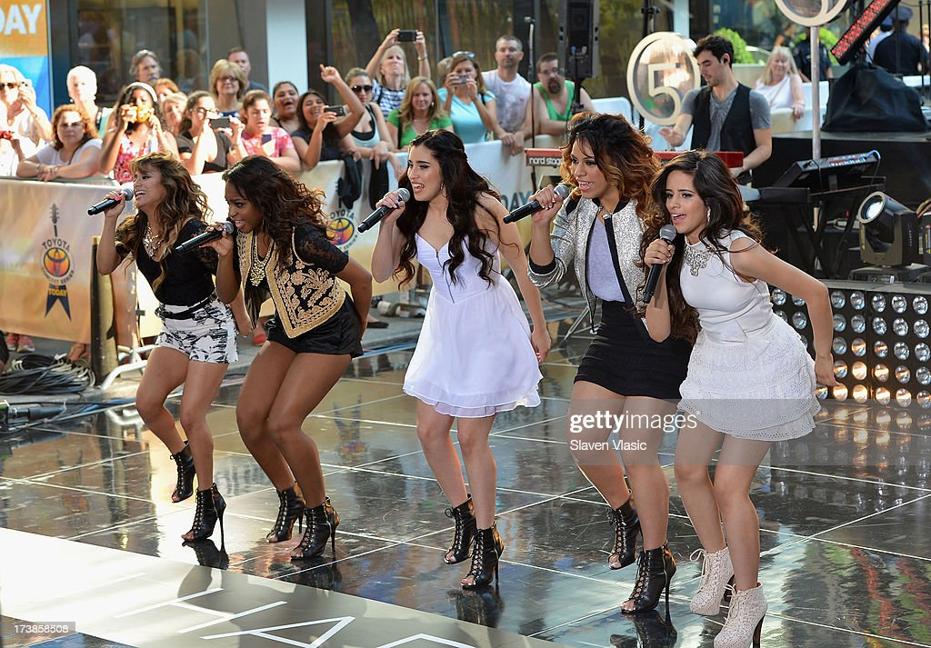 Ally Brooke Hernandez, Normani Hamilton, Lauren Jauregui, Dinah Jane Hansen and Camila Cabello of Fifth Harmony performs at NBC's TODAY Show on July 18, 2013 in New York City.