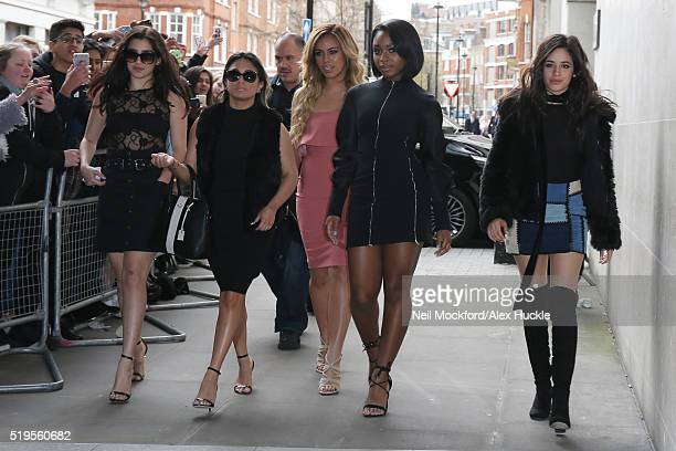 Ally Brooke Lauren Jauregui Dinah Jane Normani Kordei and Camilla Cabello from Fifth Harmony seen arriving at BBC Radio One on April 7 2016 in London...