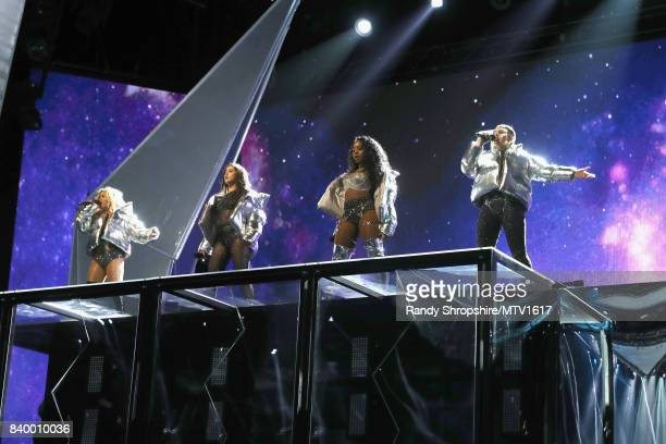 Ally Brooke Lauren Jauregui Normani Korde and Dinah Jane of music group Fifth Harmony perform onstage during the 2017 MTV Video Music Awards at The...
