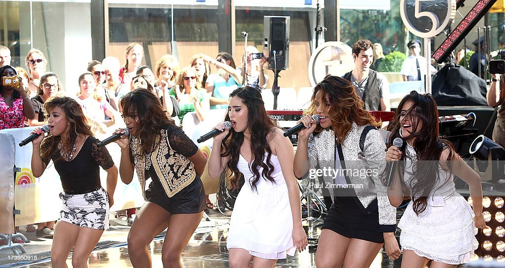 Ally Brooke, Normani Hamilton, Lauren Jauregui, Dinah Jane Hansen and Camila Cabello of the band Fifth Harmony perform on NBC's 'Today' at Rockefeller Plaza on July 18, 2013 in New York City.