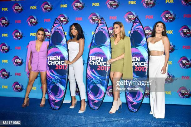 Ally Brooke Normani Kordei Dinah Jane and Lauren Jauregui of Fifth Harmony pose with the Choice Music Group award in the press room during the Teen...