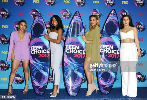 Ally Brooke Normani Kordei Dinah Jane and Lauren Jauregui of Fifth Harmony pose in the press room at the 2017 Teen Choice Awards at Galen Center on...