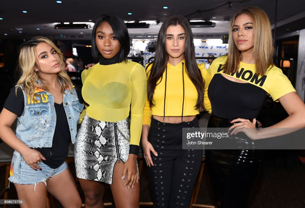 Ally Brooke, Normani Kordei, Lauren Jauregui, and Dinah Jane of Fifth Harmony pose backstage during rehearsals for the 2017 MTV Video Music Awards at The Forum on August 23, 2017 in Inglewood, California.
