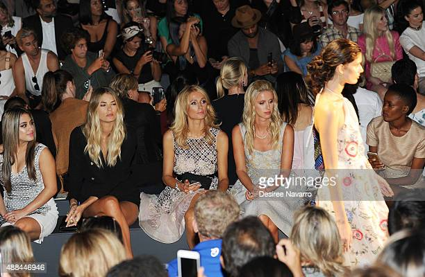 Ally Brooke Tori Praver Paris Hilton Nicky Hilton Rothschild and Flaviana Matata attend Dennis Basso Front Row Backstage Spring 2016 New York Fashion...