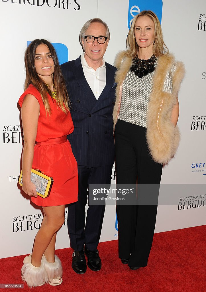Ally Hilfiger, Fashion designer Tommy Hilfiger and Dee Ocleppo attend the Cinema Society with Swarovski & Grey Goose premiere of eOne Entertainment's 'Scatter My Ashes at Bergdorf's'at Florence Gould Hall on April 29, 2013 in New York City.