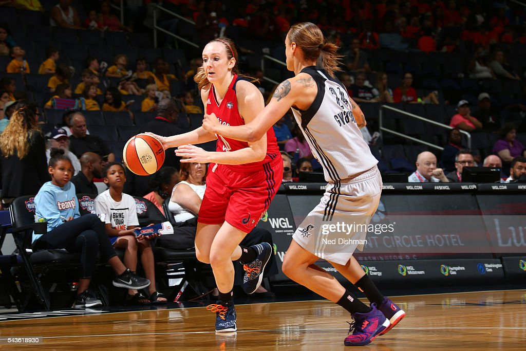 Ally Malott #11 of the Washington Mystics moves the ball against the San Antonio Stars on June 29, 2016 at the Verizon Center in Washington, DC.