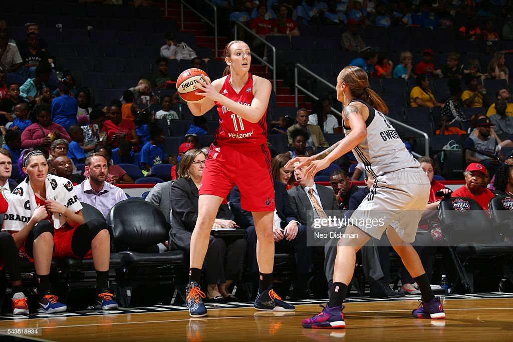 Ally Malott #11 of the Washington Mystics passes the ball against the San Antonio Stars on June 29, 2016 at the Verizon Center in Washington, DC.