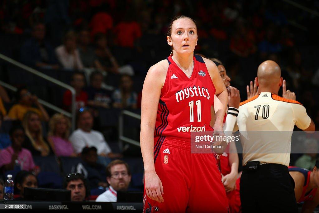 Ally Malott #11 of the Washington Mystics reacts to a play against the San Antonio Stars on June 29, 2016 at the Verizon Center in Washington, DC.