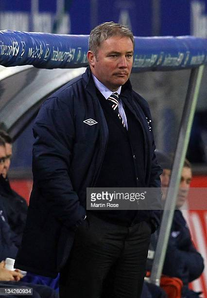 Ally McCoist coach of Glasgow looks on during the friendly match between Hamburger SV and Glasgow Rangers at Imtech Arena on November 29 2011 in...