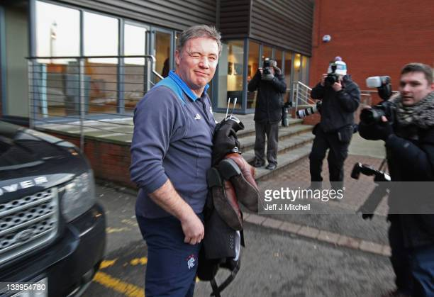 Ally McCoist coach of Rangers arrives at Ibrox Stadium on February 14 2012 in Glasgow Scotland HM Revenue and Customs lodged a petition at the Court...